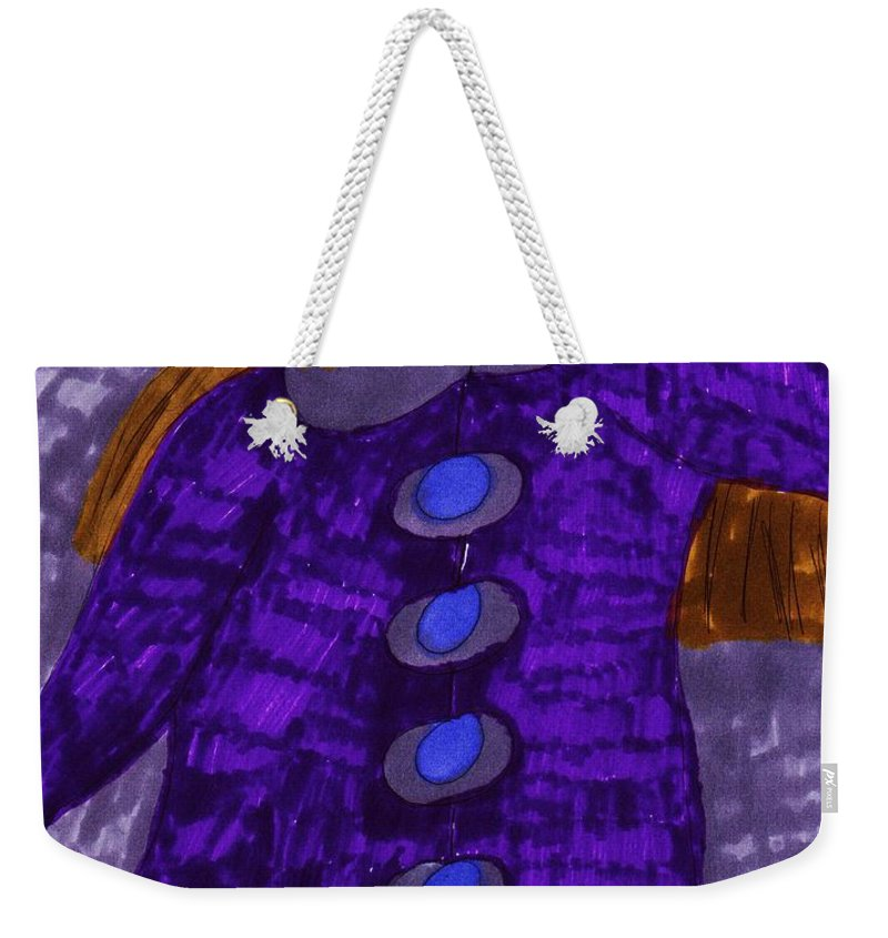 Lady Shopping For A New Fall Coat Weekender Tote Bag featuring the mixed media Fall Coat Sale by Elinor Helen Rakowski