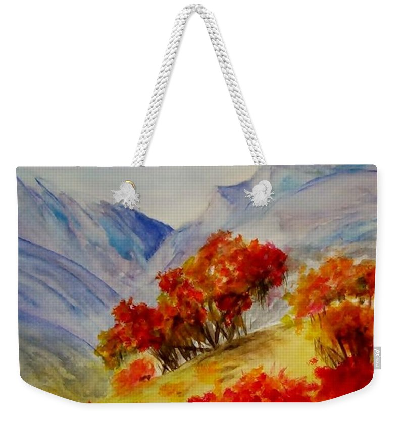 Mountains Weekender Tote Bag featuring the painting Fall Color by Jamie Frier