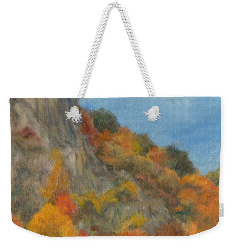 Oil Landscape Weekender Tote Bag featuring the painting Fall Colors At Hook Mountain by Phyllis Tarlow