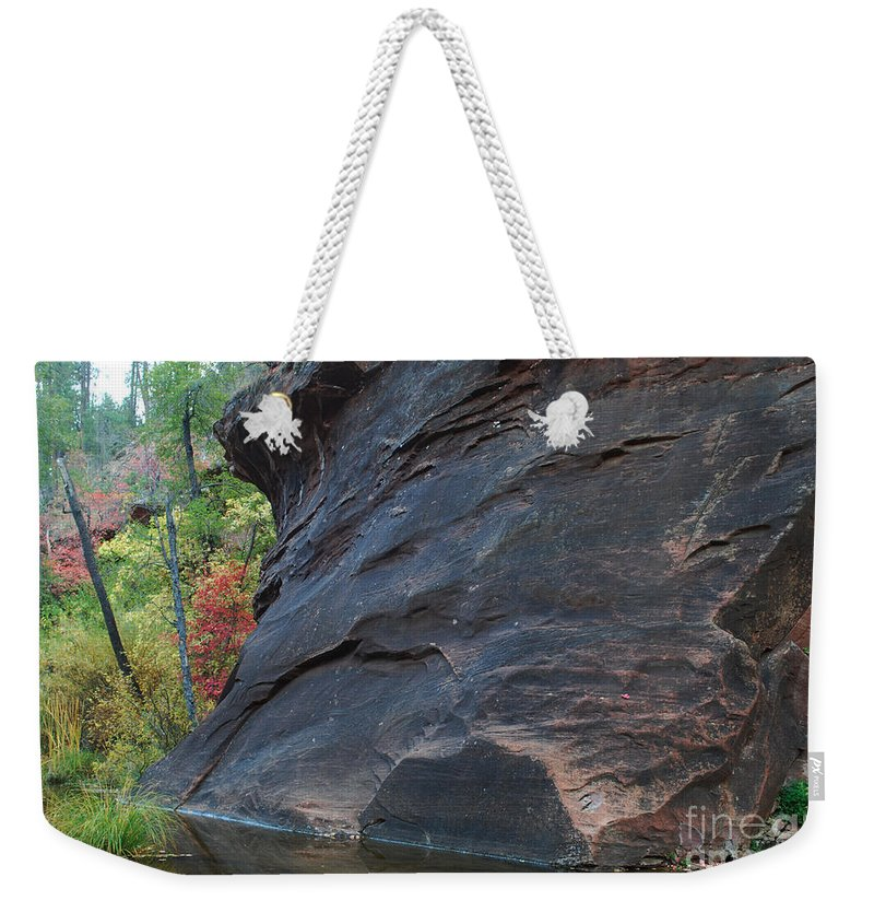 Photo Weekender Tote Bag featuring the photograph Fall Colors Peek Around Mountain Horizontal Number 1 by Heather Kirk