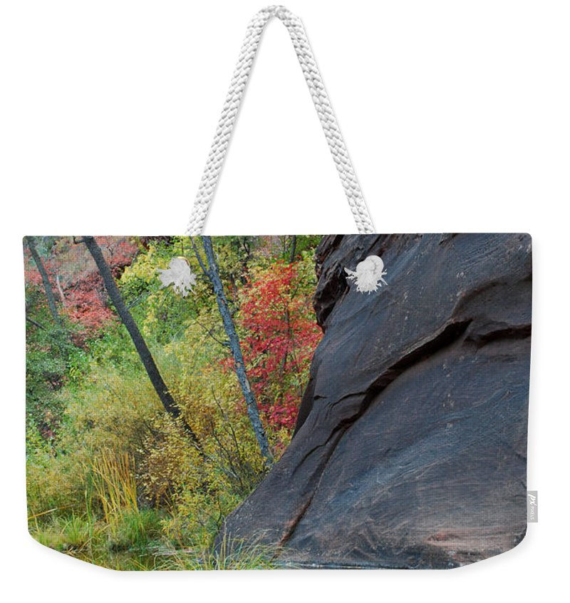 Landscape Weekender Tote Bag featuring the photograph Fall Colors Peek Around Mountain Vertical by Heather Kirk