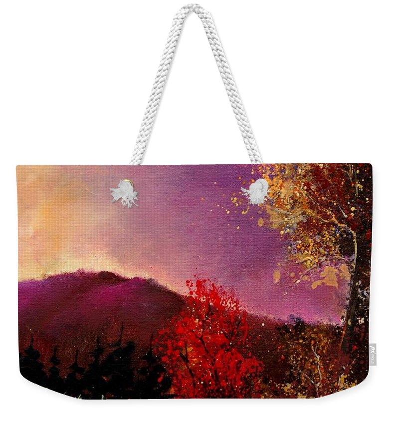 River Weekender Tote Bag featuring the painting Fall Colors by Pol Ledent