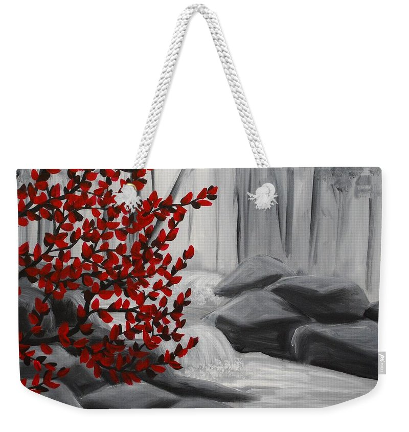 Fall Weekender Tote Bag featuring the painting Fall Creek by Emily Page