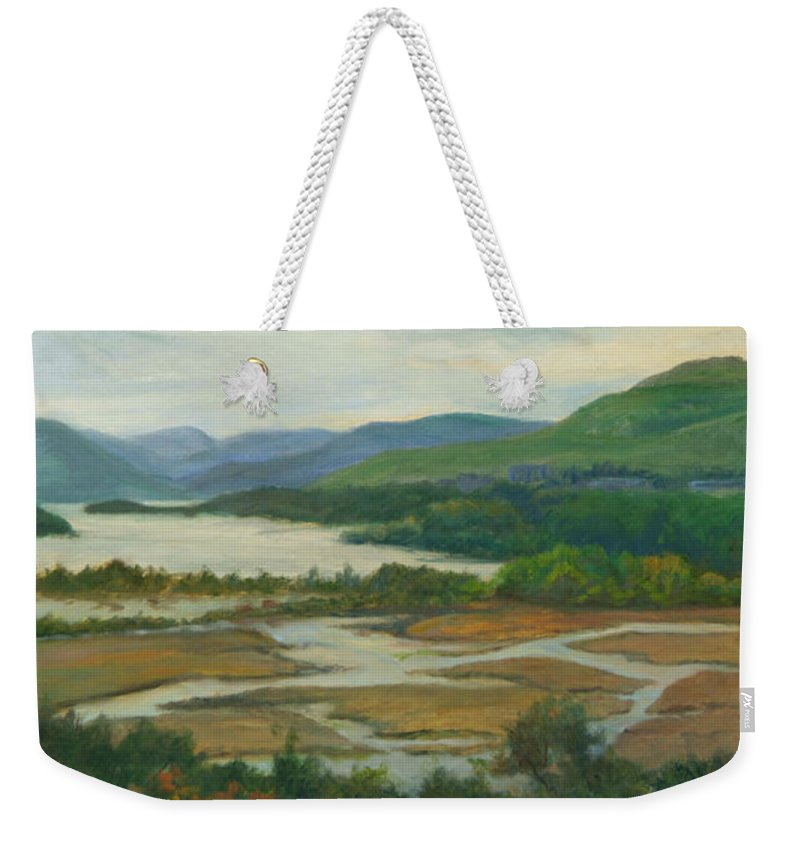 Hudson River Weekender Tote Bag featuring the painting Fall Day Constitution Marsh View From Boscobel by Phyllis Tarlow