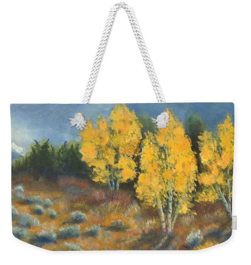 Landscape Weekender Tote Bag featuring the painting Fall Delight by Jerry McElroy