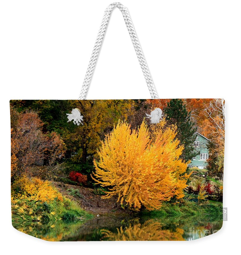 Prosser Weekender Tote Bag featuring the photograph Fall Fireworks by Carol Groenen