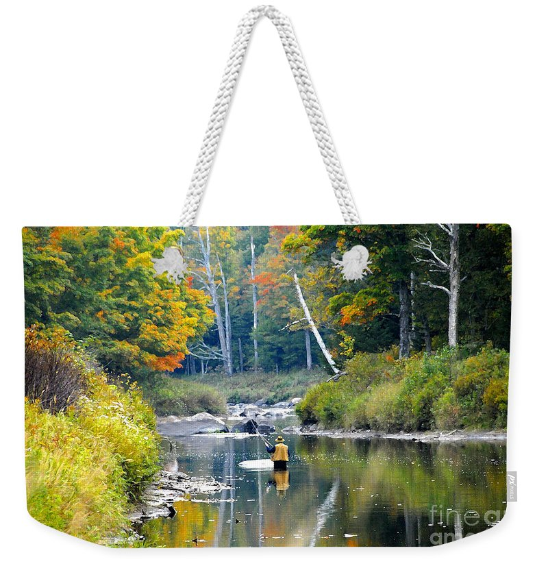 Fall Weekender Tote Bag featuring the photograph Fall Fishing by David Lee Thompson