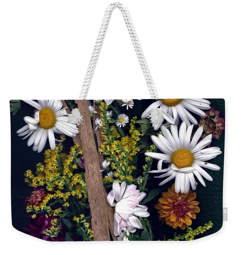 Montauk Daisies Weekender Tote Bag featuring the photograph Fall Floral Collage by Anne Sands