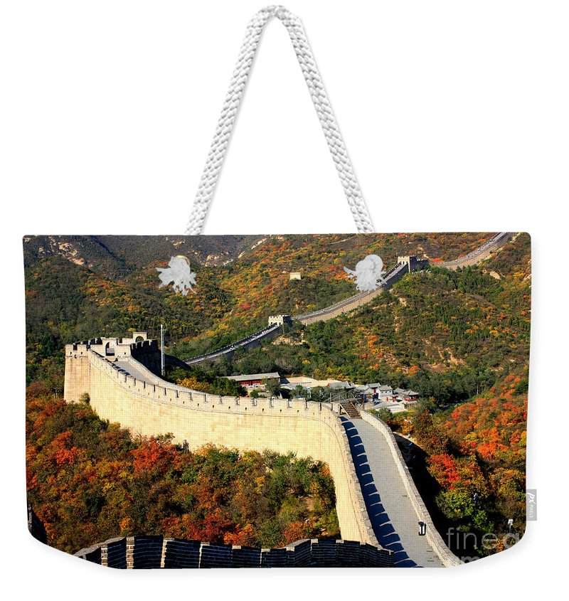 The Great Wall Weekender Tote Bag featuring the photograph Fall Foliage At The Great Wall by Carol Groenen