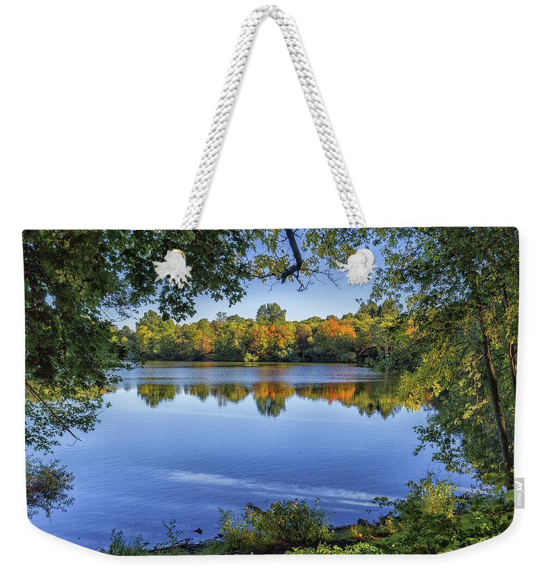 Fall Foliage At Turners Pond In Milton Massachusetts Weekender Tote Bag featuring the photograph Fall Foliage At Turners Pond In Milton Massachusetts by Brian MacLean