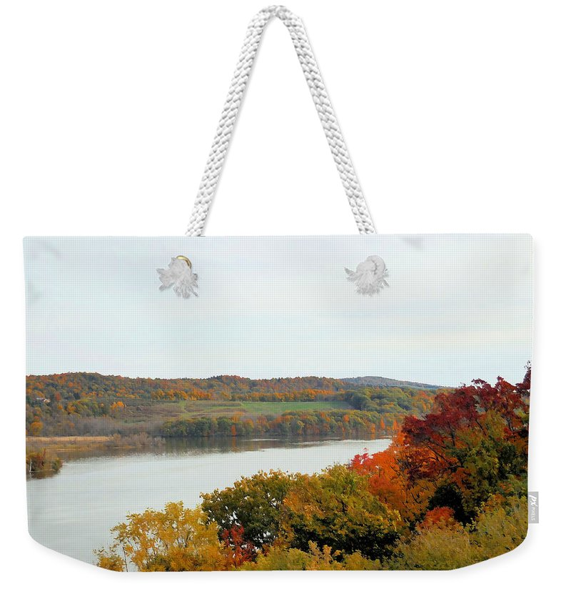 Fall Foliage In Hudson River Weekender Tote Bag featuring the painting Fall Foliage In Hudson River 5 by Jeelan Clark