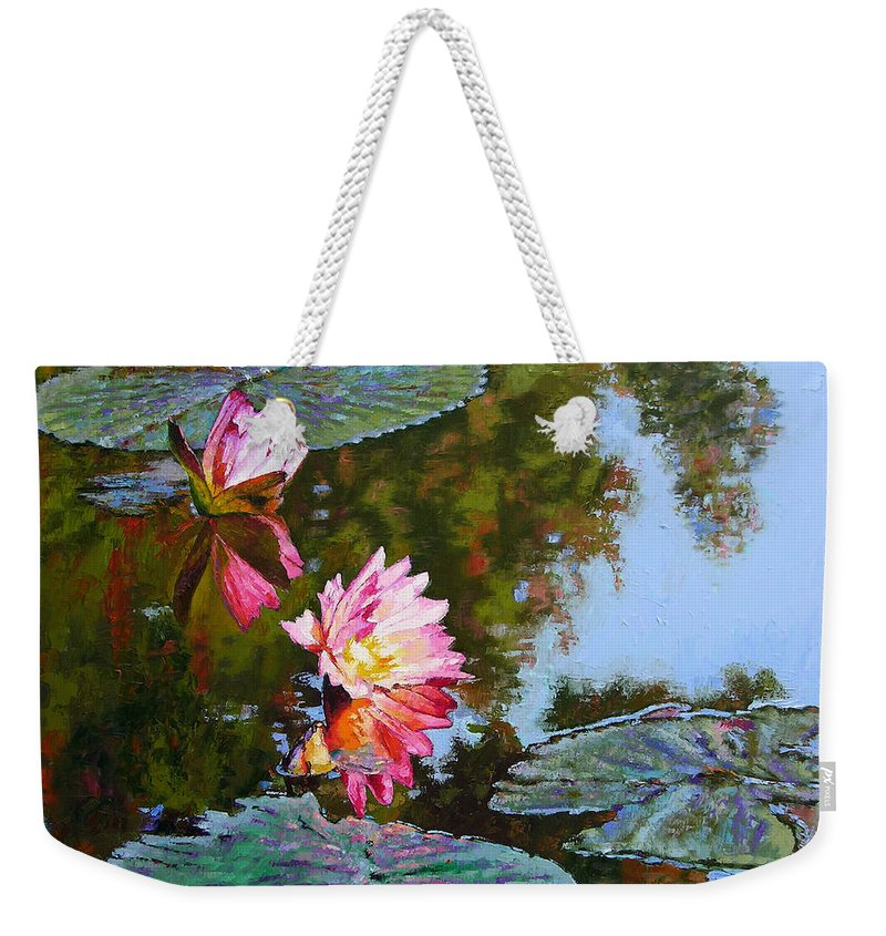 Water Lily Weekender Tote Bag featuring the painting Fall Glow by John Lautermilch