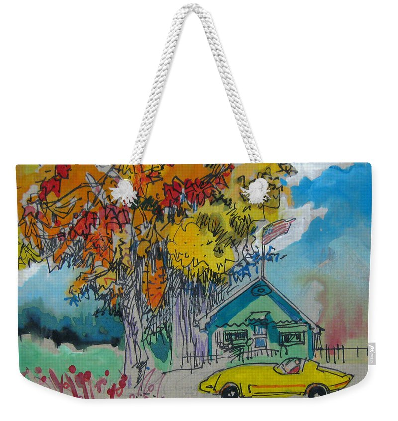 Fall Weekender Tote Bag featuring the drawing Fall by Guanyu Shi