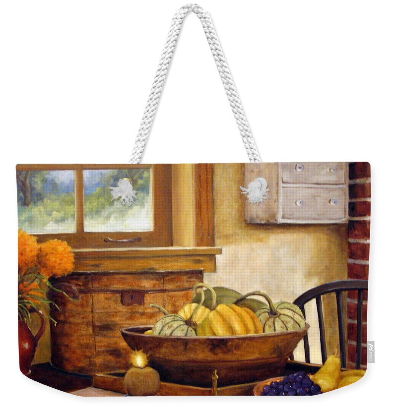 Fall Weekender Tote Bag featuring the painting Fall Harvest by Richard T Pranke