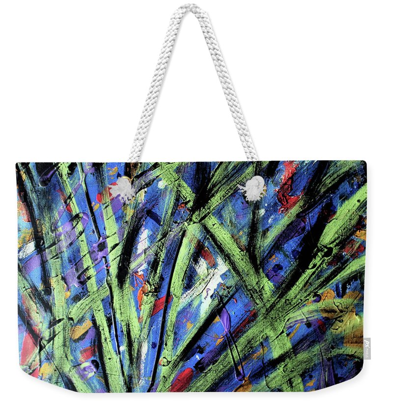 Abstract Weekender Tote Bag featuring the painting Fall Haze by Pam Roth O'Mara