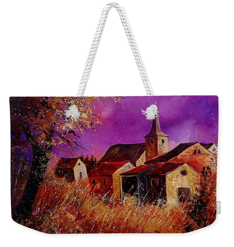 Village Weekender Tote Bag featuring the painting Fall In Ardennes by Pol Ledent