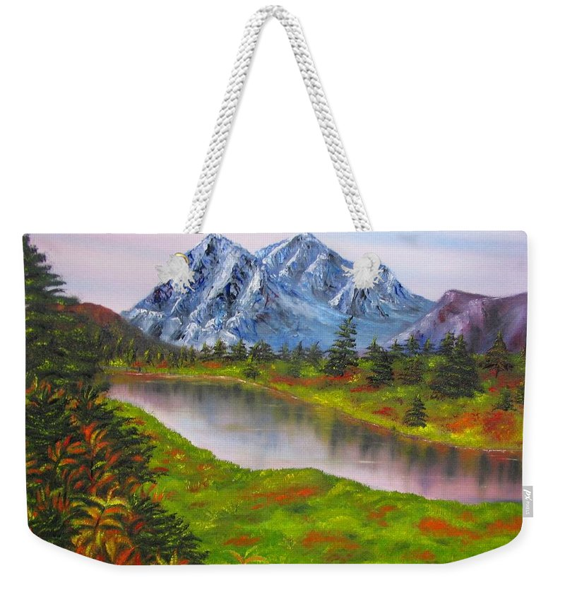 Fall Weekender Tote Bag featuring the painting Fall In Mountains Landscape Oil Painting by Natalja Picugina