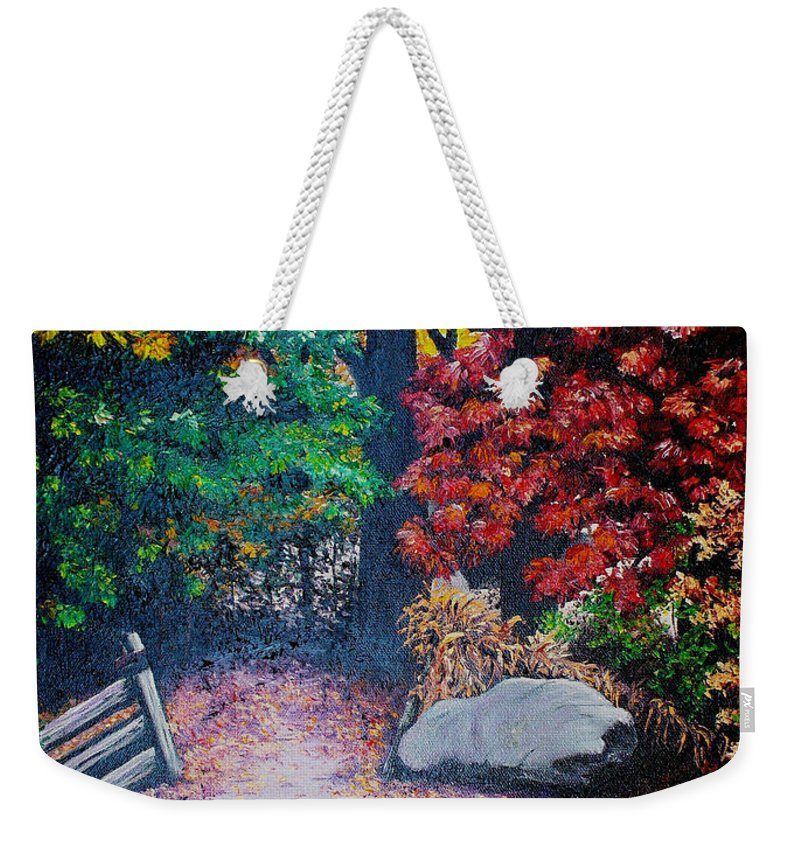 A N Original Painting Of An Autumn Scene In The Gateneau In Quebec Weekender Tote Bag featuring the painting Fall In Quebec Canada by Karin Dawn Kelshall- Best
