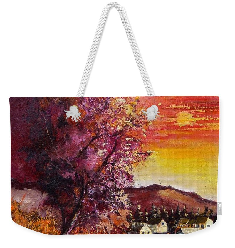 Autumn Weekender Tote Bag featuring the painting Fall In Villers by Pol Ledent