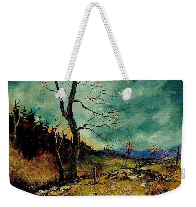 Tree Weekender Tote Bag featuring the painting Fall Landscape 56 by Pol Ledent