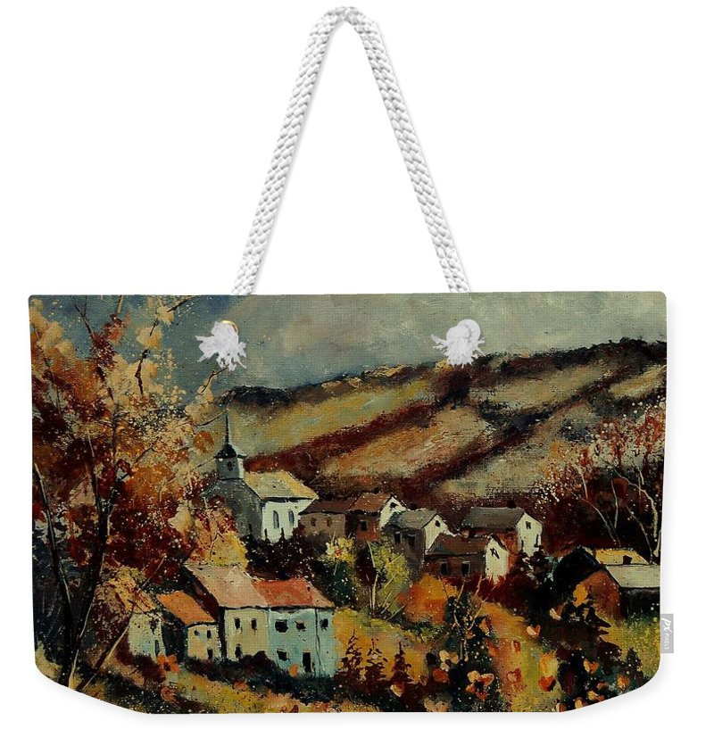 Landscape Weekender Tote Bag featuring the painting Fall Landscape 670110 by Pol Ledent
