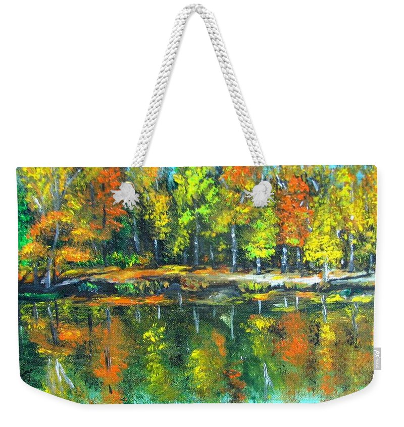Fall Weekender Tote Bag featuring the painting Fall Landscape Acrylic Painting Framed by Natalja Picugina