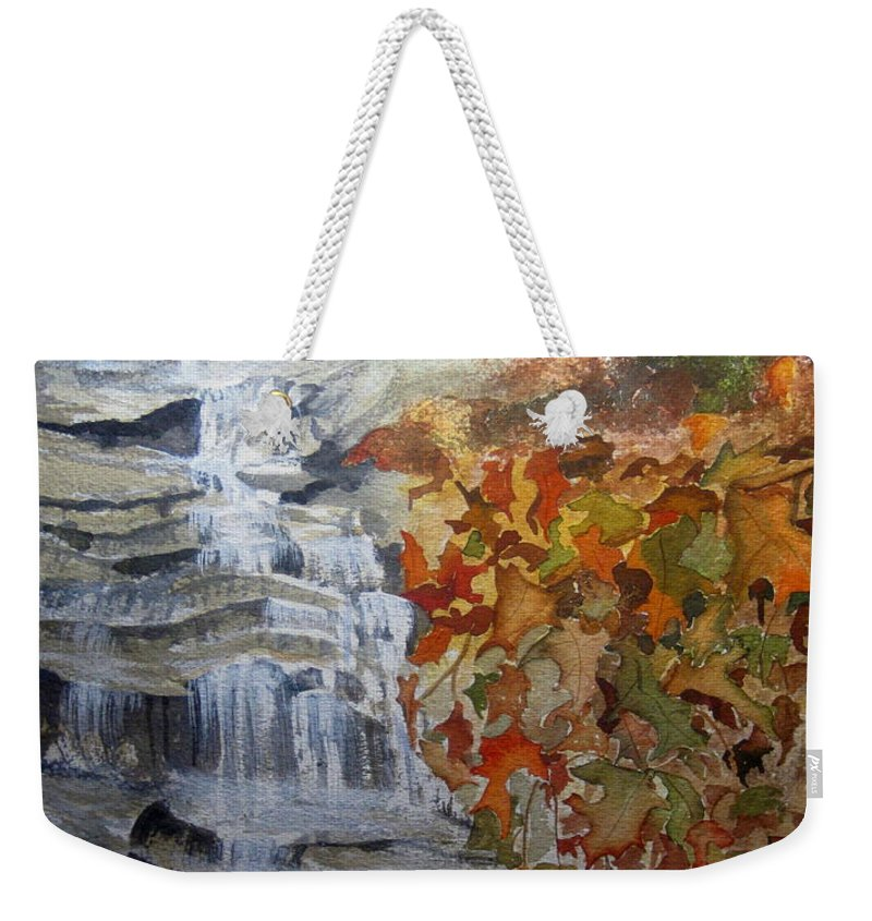 Water Fall Weekender Tote Bag featuring the painting Fall Leaves by Julia RIETZ