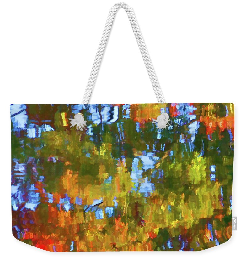 Fall Leaves On River Weekender Tote Bag featuring the painting Fall Leaves On River 12 by Jeelan Clark
