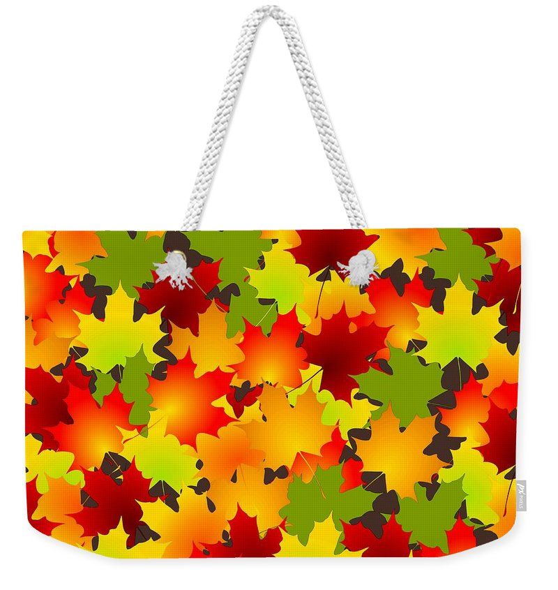 Fall Weekender Tote Bag featuring the mixed media Fall Leaves Quilt by Anastasiya Malakhova