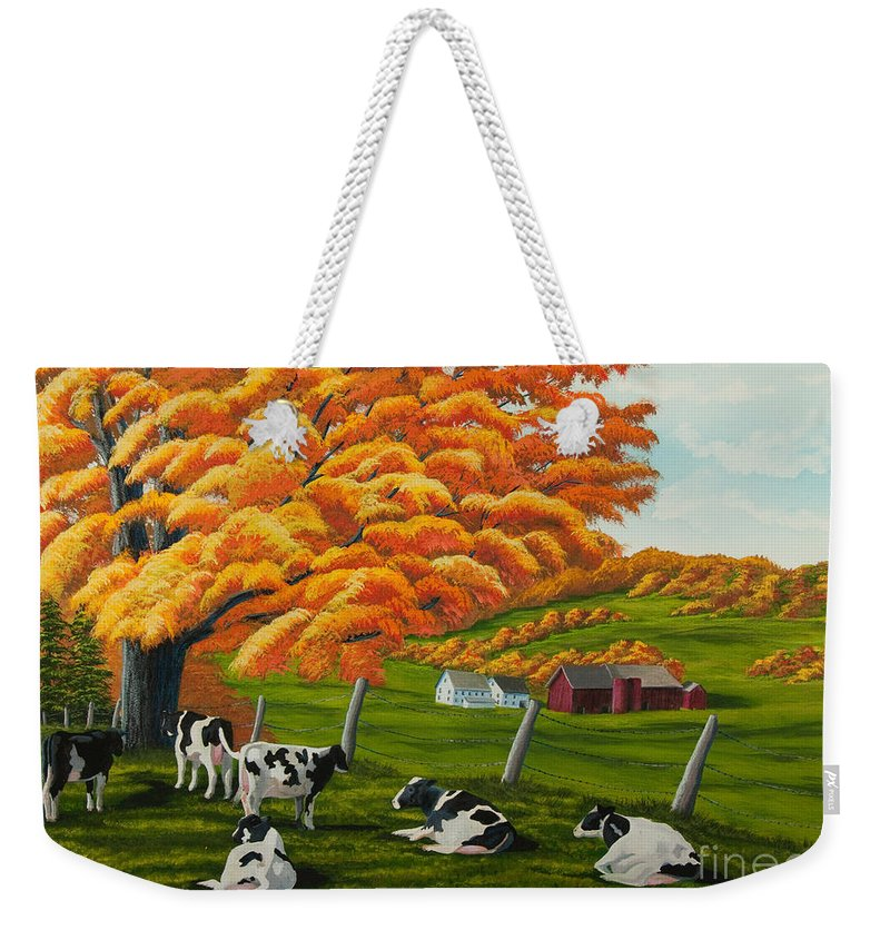 Fall Paintings Weekender Tote Bag featuring the painting Fall On The Farm by Charlotte Blanchard