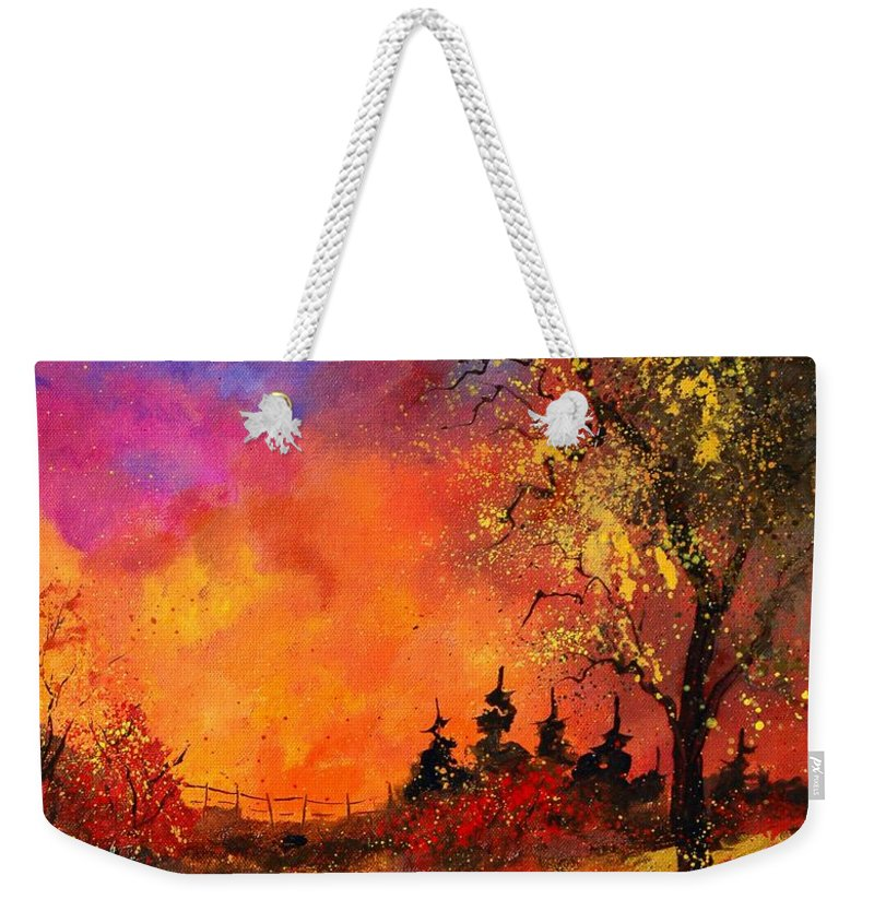 River Weekender Tote Bag featuring the painting Fall by Pol Ledent