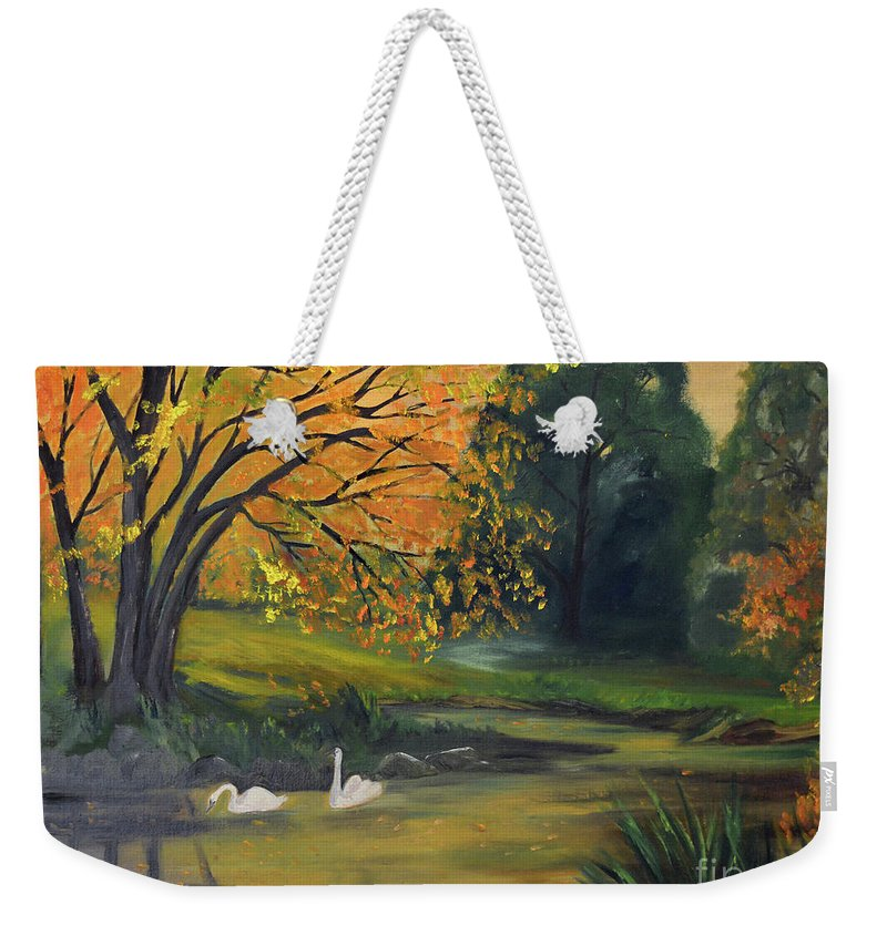 Swan Weekender Tote Bag featuring the painting Fall Pond With Swans by Meandering Photography
