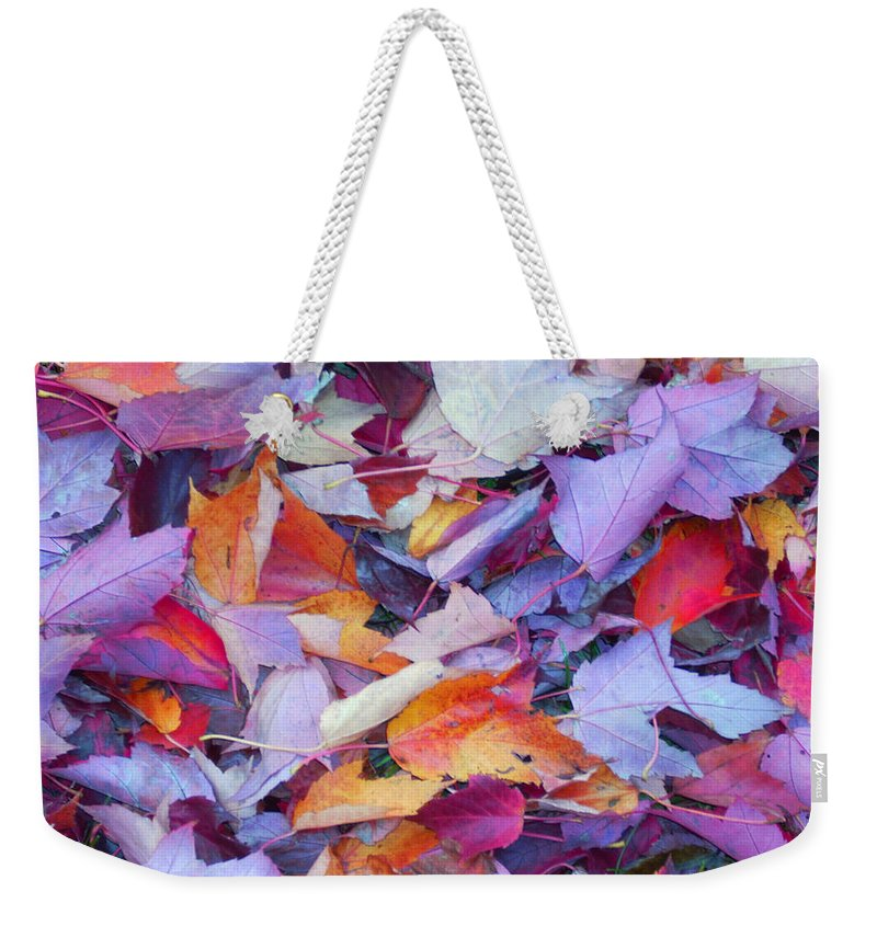 Weekender Tote Bag featuring the photograph Fall Purples by Karin Dawn Kelshall- Best