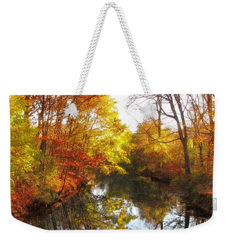 Landscape Weekender Tote Bag featuring the photograph Fall Reflected by Jessica Jenney