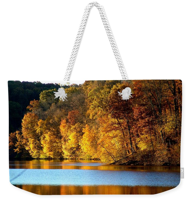 Trees Weekender Tote Bag featuring the photograph Fall Reflections Of Indiana by Carol Milisen