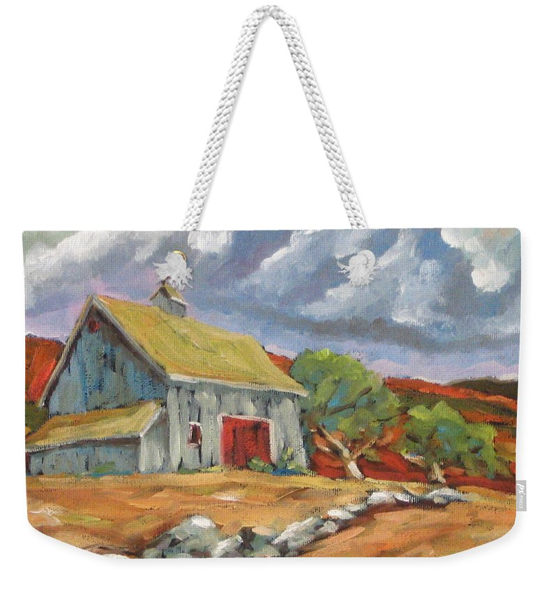 Farm Weekender Tote Bag featuring the painting Fall Scene by Richard T Pranke