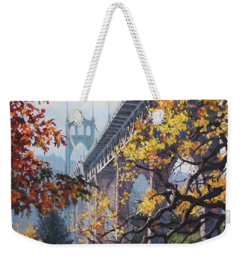 Portland Weekender Tote Bag featuring the painting Fall St Johns by Karen Ilari