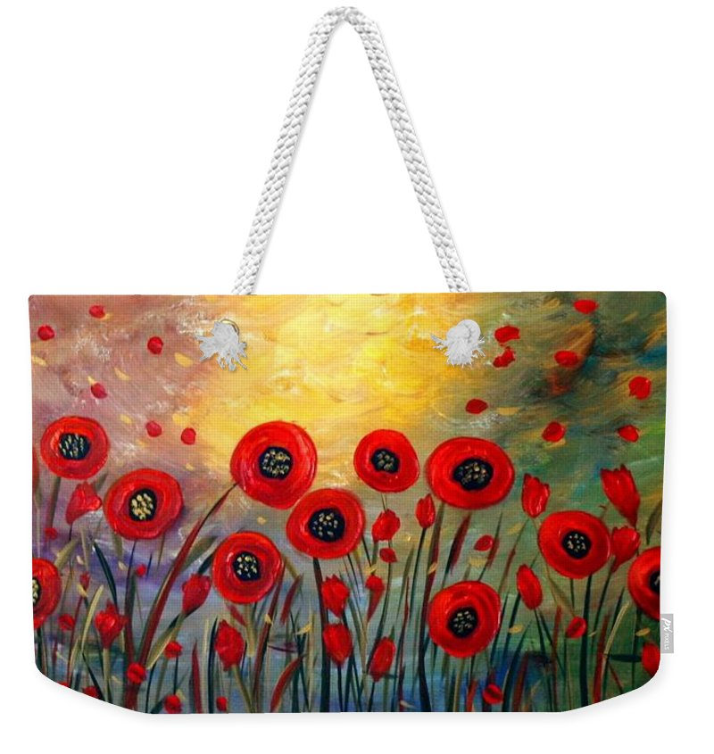 Flowers Weekender Tote Bag featuring the painting Fall Time Poppies by Luiza Vizoli