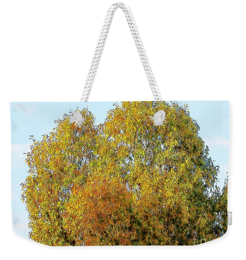 Tree Autumn Color Photo Photograph Green Red Orange Craig Walters Trees Fall Sky Weekender Tote Bag featuring the digital art Fall Tree by Craig Walters