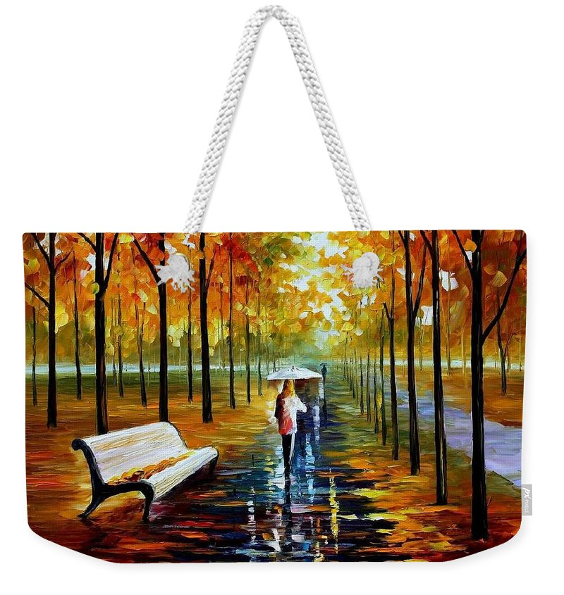 Afremov Weekender Tote Bag featuring the painting Fall White Umbrella by Leonid Afremov