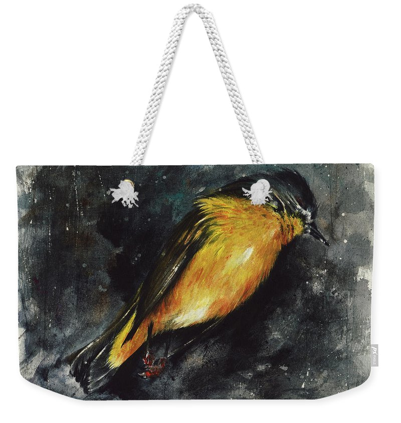 Abstract Weekender Tote Bag featuring the painting Fallen Angel by Rachel Christine Nowicki
