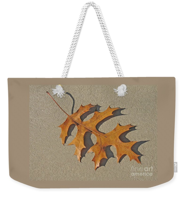 Leaf Weekender Tote Bag featuring the photograph Fallen by Ann Horn