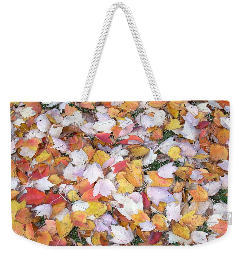 Photography Fall Autum Leaves Weekender Tote Bag featuring the photograph Fallen Fantasy by Karin Dawn Kelshall- Best