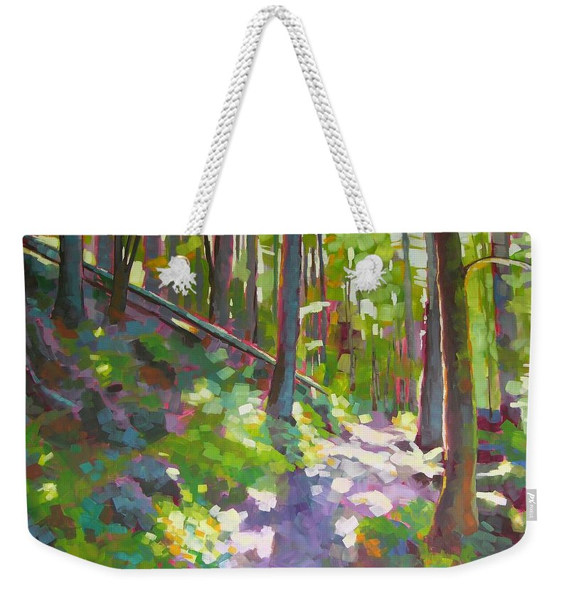 Landscape Weekender Tote Bag featuring the painting Fallen Log by Mary McInnis