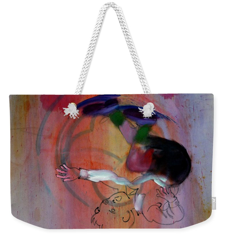 Fall Weekender Tote Bag featuring the painting Falling Boy by Charles Stuart