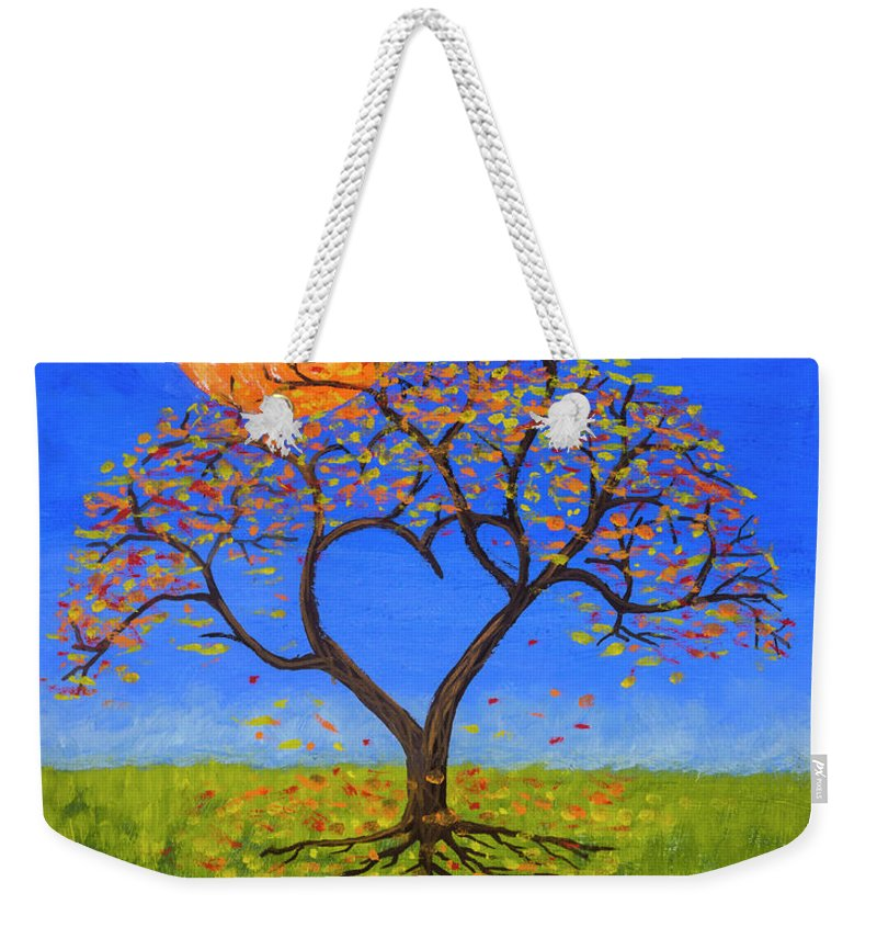 Love Weekender Tote Bag featuring the painting Falling For You by Jerry McElroy