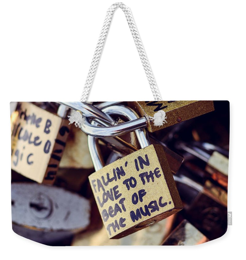 Music Weekender Tote Bag featuring the photograph Falling In Love To The Beat Of The Music, Love Lock by Nicole Freedman