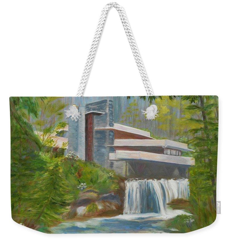Frank Lloyd Wright Weekender Tote Bag featuring the painting Falling Water by Jamie Frier