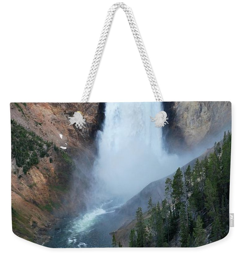 Waterfall Weekender Tote Bag featuring the photograph Yellowstone National Park Waterfalls by Angela Grato