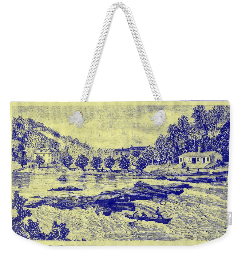 Falls Weekender Tote Bag featuring the photograph Falls Of The Schuylkill And Fort St Davids 1794 by Bill Cannon